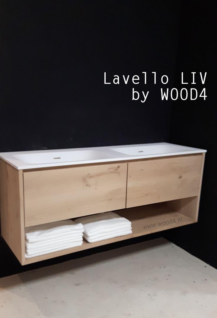 Een Solid Surface wastafel op een Lavello LIV badkamermeubel is super strak en verkrijgbaar in diverse maatvoeringen.