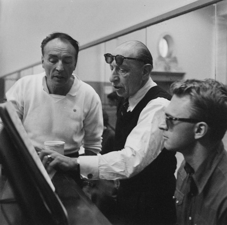 1957 Martha Swope photo of George Balanchine and Igor Stravinsky at rehearsal for NYCB's production of Agon
