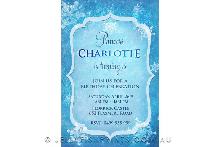 Printable ice princess invitations inspired by FROZEN -JellyfishPrints - great for a kids FRozen birthday party with Olaf, Anna. Elsa and all the rest.