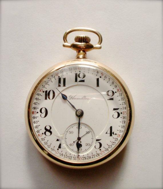 992 Hamilton Pocket Watch 21 Jewels Railroad by AutomatonJourney