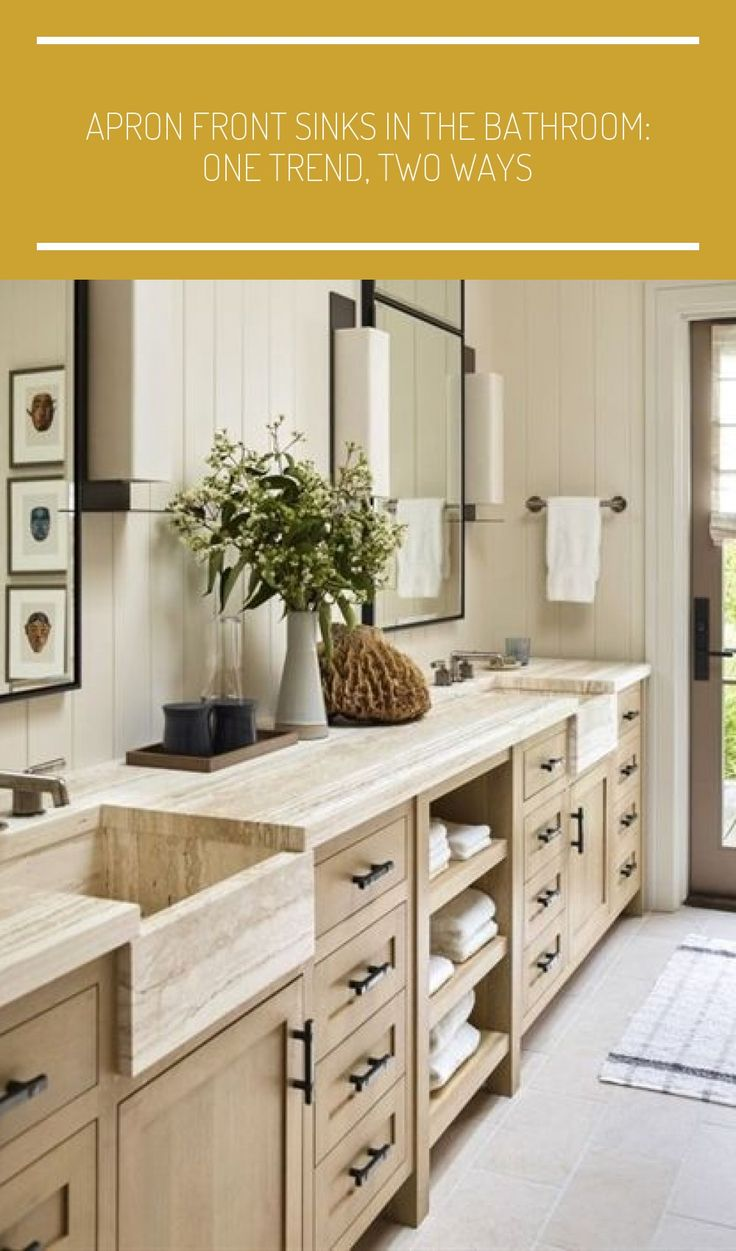 transitional bathroom with integrated apron front marble