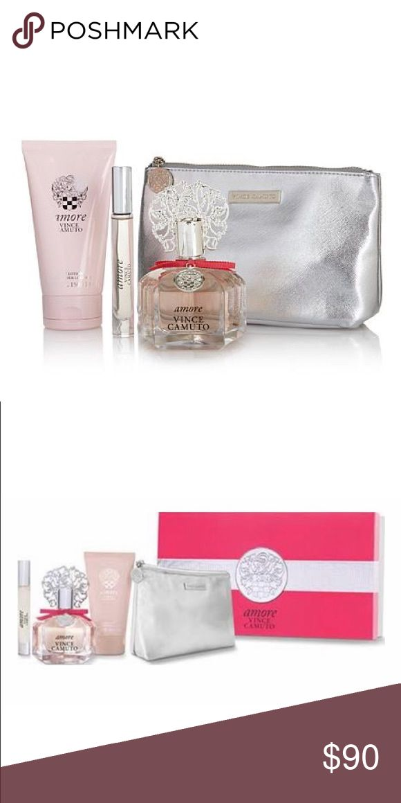 Vince Camuto Amore gift set 3.4 fl oz/100 mL perfume bottle.. 5 fl oz/150 mL body lotion.. .2 fl oz/6 mL travel perfume bottle.. Silver travel bag. Everything is brand new, all in the box. Price negotiable. Vince Camuto Other