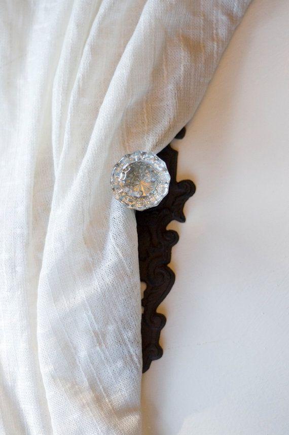 Set of FOUR Vintage Crystal Door Knob Curtain Tie by eviemethugh, $130.00