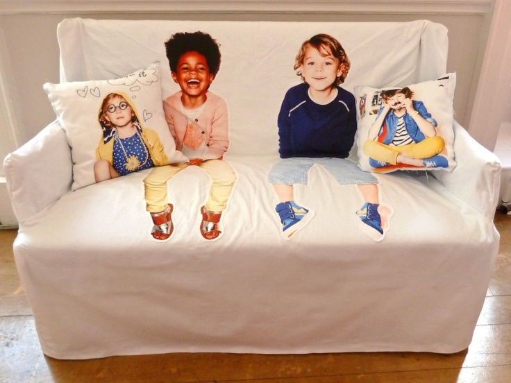 Love this cute creative photoprint sofa idea at Mini Boden press day for spring 2013