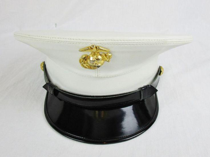USMC Dress Blues White Cover Hat Size 7 1/8 KINGFORM Cap Hat US Military  #Kingform
