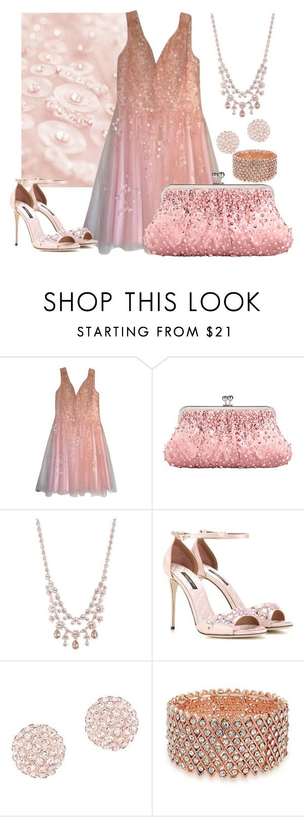 """""""Pink Satin & Beads"""" by itsablingthing ❤ liked on Polyvore featuring Kathy Hilton, Givenchy, Dolce&Gabbana, Swarovski and Bling Jewelry"""