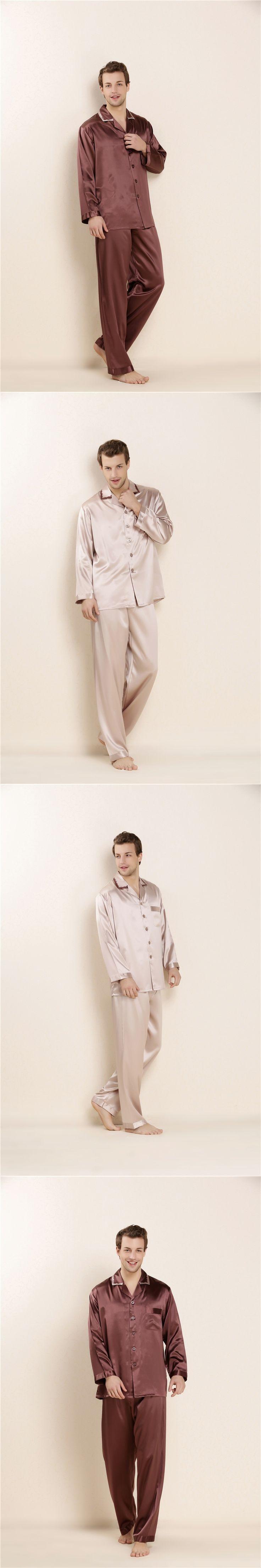 2017 Mens 100% Real Silk Summer Pajamas Sets Male Loungewear Solid Sleepwear Shirt + Pant  2pcs Long Sleeve Homedress LX80032M
