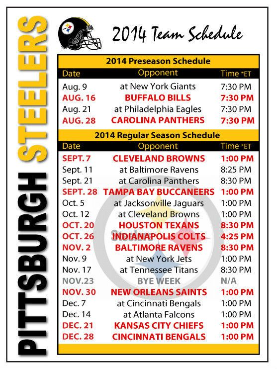 2014 Pittsburgh Steelers Football Schedule Magnet