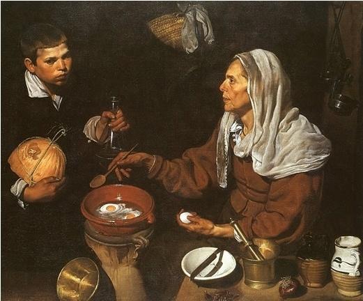 """디에고 벨라스케스, """"계란을 부치는 노파"""", 1618, 캔버스에 유채, 국립 스코틀랜드 미술관.  귀족 여자이든, 평민 여자이든 모든 여자들은 늙는다. 그리고 살아간다. 그들의 외모는 추하다. 하지만 우리들은 그들을 보며 우리들도 곧 그들처럼 될 것이라는 사실을 깨닫기보다는 평생 나이를 안 먹을 것처럼 살곤 한다."""