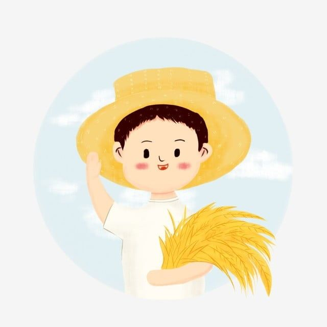 Hand Painted Rice Ear Rice Material Farmer Hat Cartoon Peasant Character Cartoon Character Material Farmers Wearing How To Draw Hands Cartoon Character Design