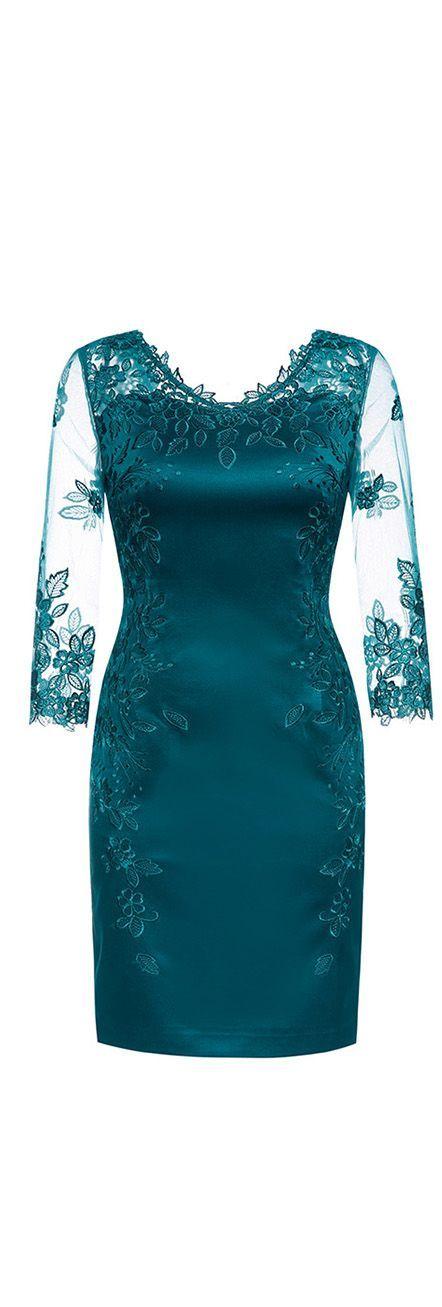 Teal Blue Sheer Embroidered Dress