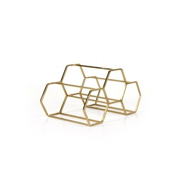 Pico 3 Stackable Wine Rack Brass (€47) ❤ liked on Polyvore featuring home, kitchen & dining, bar tools, red wine rack, stackable wine racks and brass wine rack