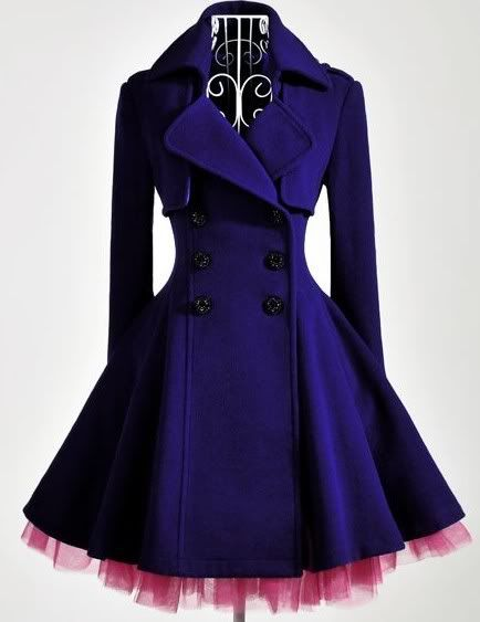 : Fashion, Style, Purple, Color, Clothing, Double Breast, Dresses, Jackets, Blue Coats