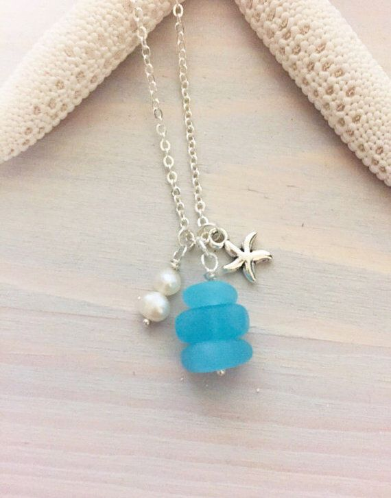 Sea Glass Charm Necklace - Beach Glass Necklace - Sea Glass Necklace - Sea Glass Jewelry - Beach Charm Necklace - Ocean Charm Necklace