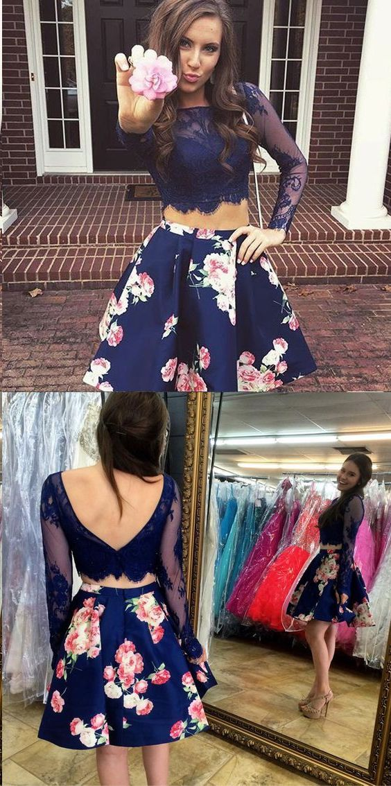 Two Piece Homecoming Dresses Floral Print Long Sleeve Short Prom Dress Party Dress JK588