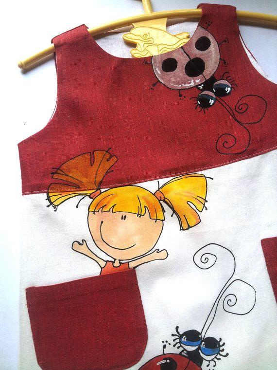 Flower Girl Dress-Red linen girls by InGAartWork on Etsy