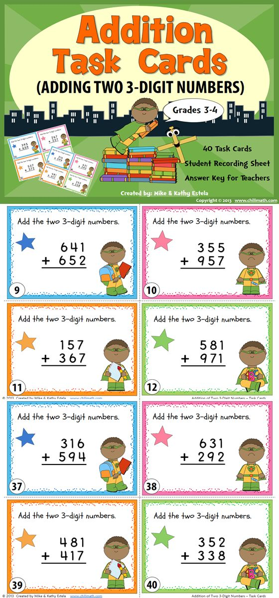 This set includes forty (40) task cards intended to help students review or practice their skills on Adding Two 3-Digit Numbers (with and without regrouping).