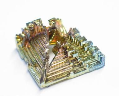 Bismuth is a crystalline white metal, with a pink tinge. Make your own bismuth crystals. Super cool!!