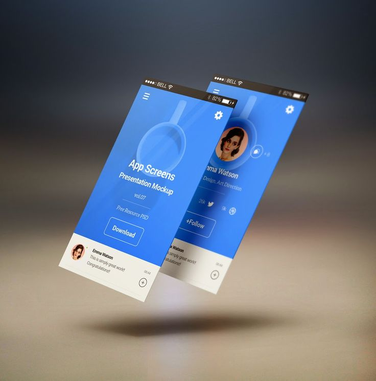 Free PSD Perspective App Screens Mock-Up
