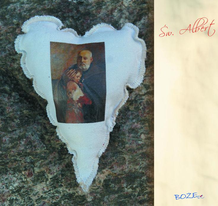 Serduszko ulubionego Świętego, patrona, imiennika, w szczególnej sytuacji. dla wnuczki, wnuka, przyjaciela, chorej babci, dziadziusia.  wymiar:  6 cm x 5 cm (Jadwiga) 10 cm x 6cm (Tereska) 10 cm x 8 cm (Św. Albert) materiał: len,  płótno koronka