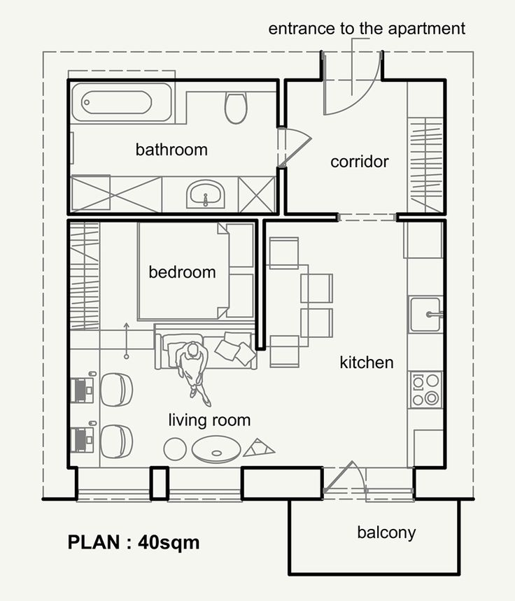Living Small With Style: Beautiful Small Apartment Plan Under 50 sqm,  Ukraine