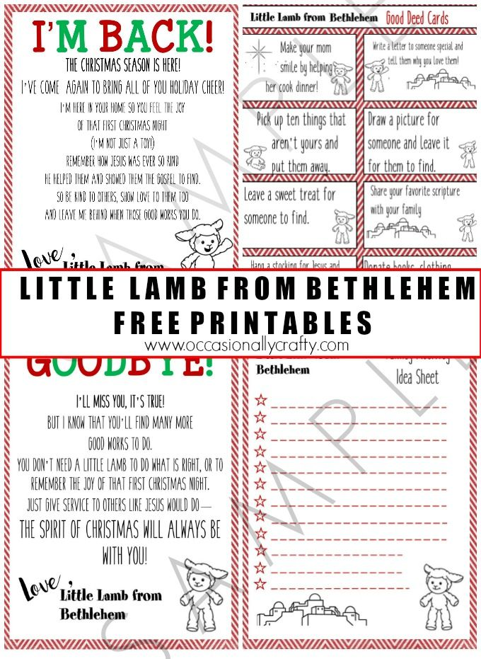 Little Lamb from Bethlehem Free Printables from Occasionally Crafty.