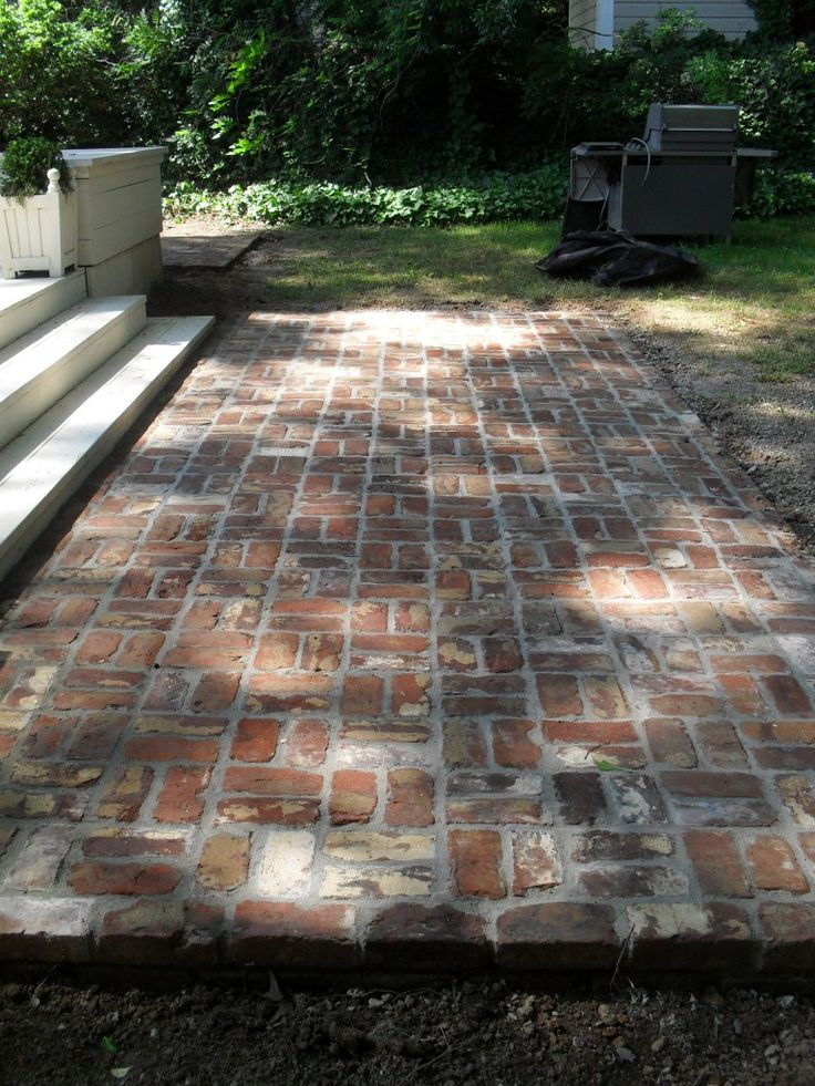 reclaimed brick patio - reuse the bricks from the old stack chimney