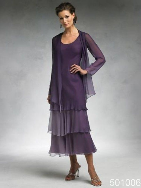 purple chiffon tea length mother of the bride wedding party dresses with long sleeve jacket Time Bridal $120.00 - 130.00