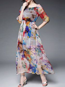 Abstract Pattern Silk #Maxi #Dress