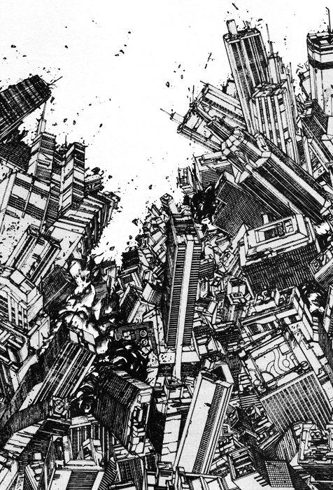 An illustration from Katushiro Otomo's manga masterpiece 'Akira'.