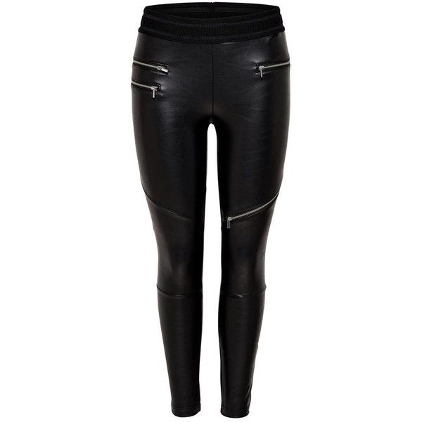 LEATHER LOOK LEGGINGS (670 ZAR) ❤ liked on Polyvore featuring pants, leggings, vegan leather leggings, imitation leather leggings, leather look leggings, legging pants and faux leather trousers