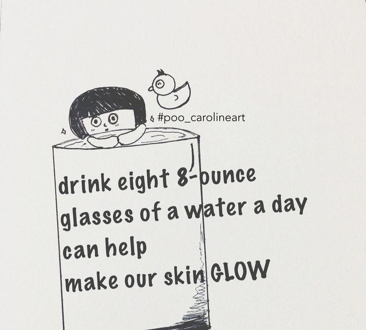 .... doubletaptap   Start Challenging myself to drink more water. Hope hope to get my skin glow ❤️  ✌#poo_carolineart     #Saturday #drink #drinkwater #healthy #art #artwork #drawing #handdrawing #blackandwhite #design #graphicdesign #cartoon #sketch #instagram #instalike