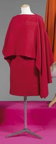 Pierre Cardin haute couture 1968 - manteau en lainage natté bois de rose