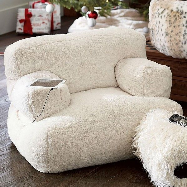 PB Teen Eco Lounger Faux Fur Media Chair, Sherpa Ivory ($280) ❤ liked on Polyvore featuring home, furniture, chairs, accent chairs, ivory lounge, faux fur chair, antique white furniture, beige chair and woven furniture