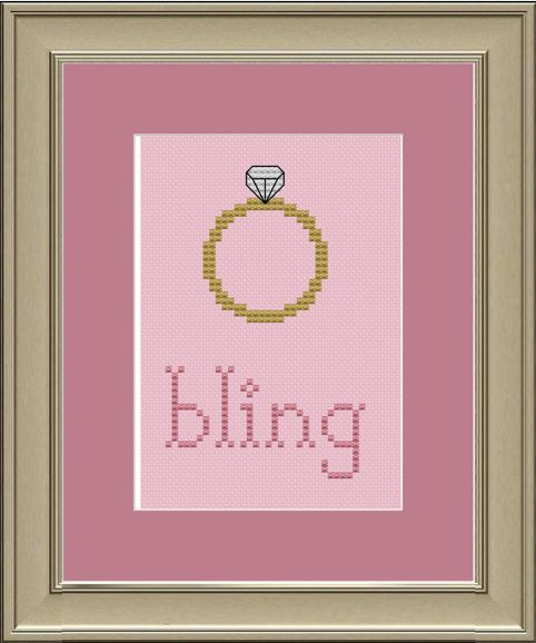 Bling diamond ring crossstitch pattern by nerdylittlestitcher, $3.00