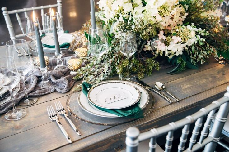 Lush Green and Gray Wedding Inspiration- unique tablescape and place setting