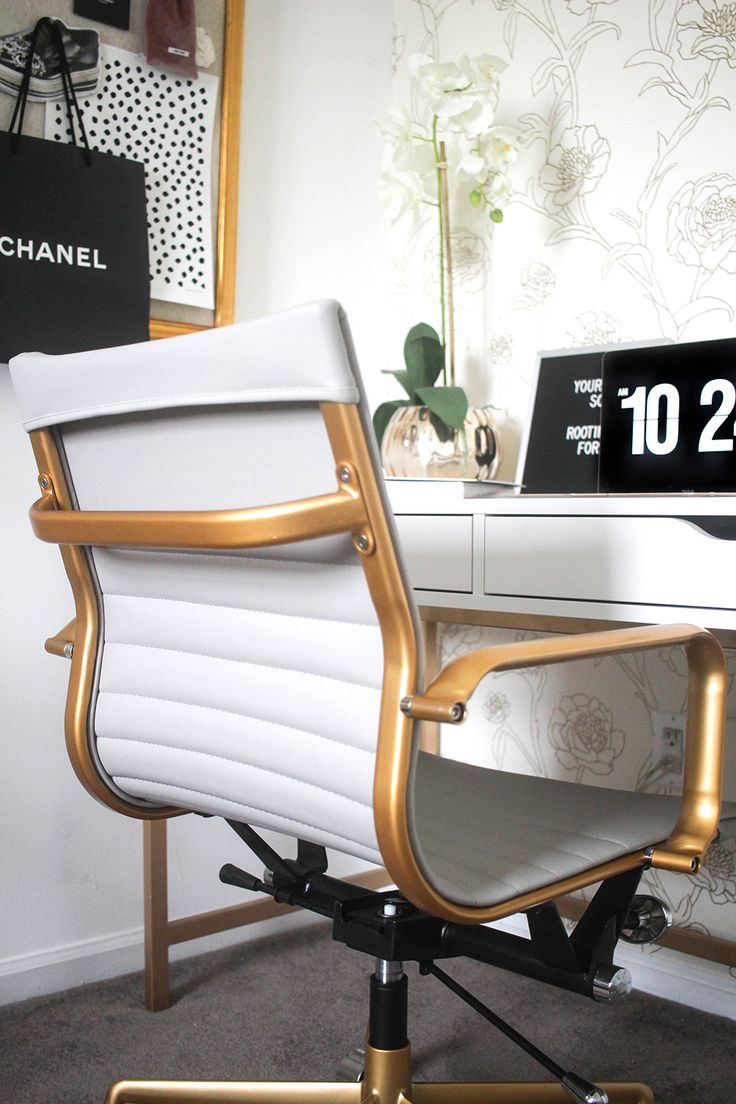 Money Can Buy Lipstick Office   White and Gold Office   Blogger Office   Gold Foil Wallpaper   Bright White Office   Feminine Office   Black and White Office