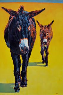 "Daily Painters Abstract Gallery: Colorful Contemporary Donkey Art, Burro Painting Farm Animal ""Tag Along "" by Contemporary Animal Artist Patricia A. Griffin"