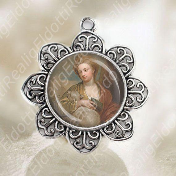 st agnes medal pendant catholic patron religious