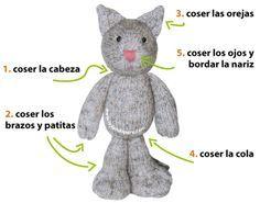 Paso a paso: cómo tejer un gato ninja en dos agujas o palitos (knitted ninja kitten tutorial)