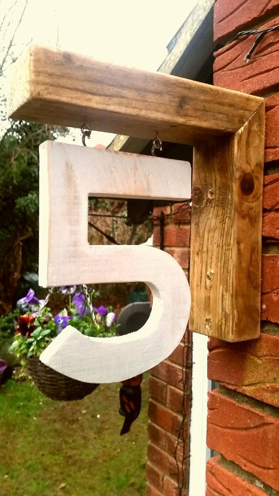 Handmade homemade personalised wooden door and house numbers | hanging house number | made to order house number