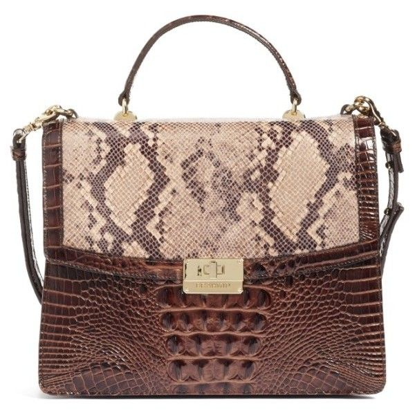 Women's Brahmin Toledo Simone Top Handle Leather Satchel ($250) ❤ liked on Polyvore featuring bags, handbags, pink, brown leather handbags, brahmin purses, leather satchel handbags, brown leather purse and pink leather purse