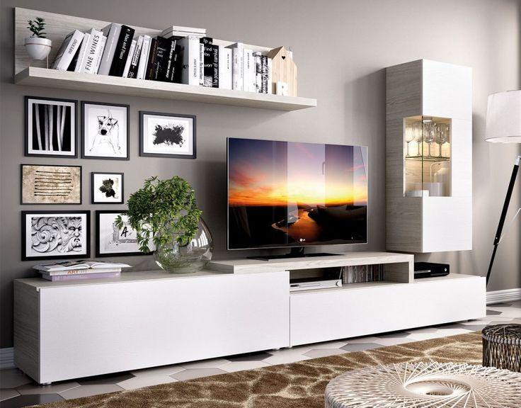 Mueble de salón modelo DUO 70. Sencillo y modular, disponible en varios tonos madera y lacados mate.