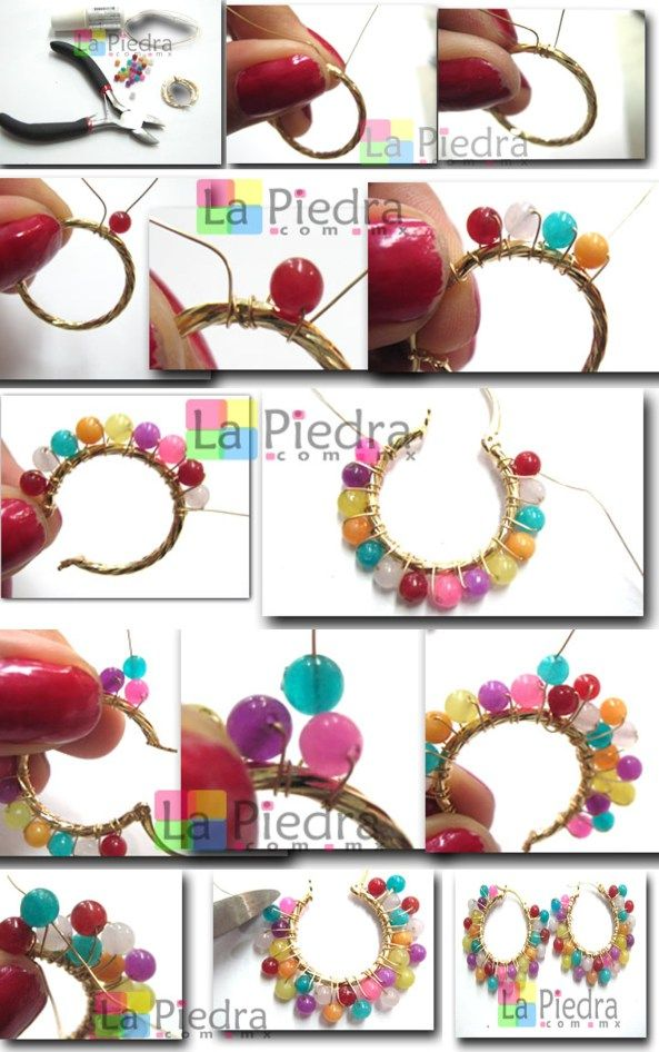 Step by step to make these beautiful earrings.