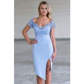 Periwinkle Lace Cocktail Dress, Cute Online Boutique Juniors Dress, Blue Party Dress