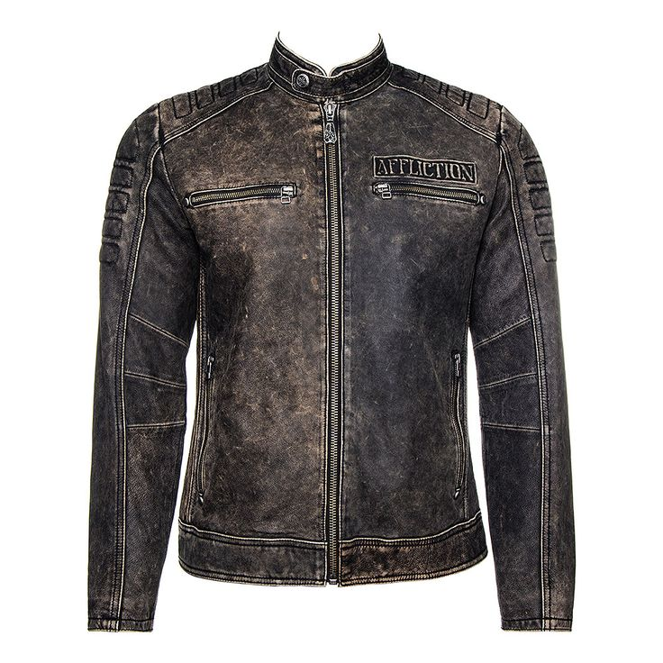 Affliction American Custom Iron Head Rider Leather Jacket (Black)