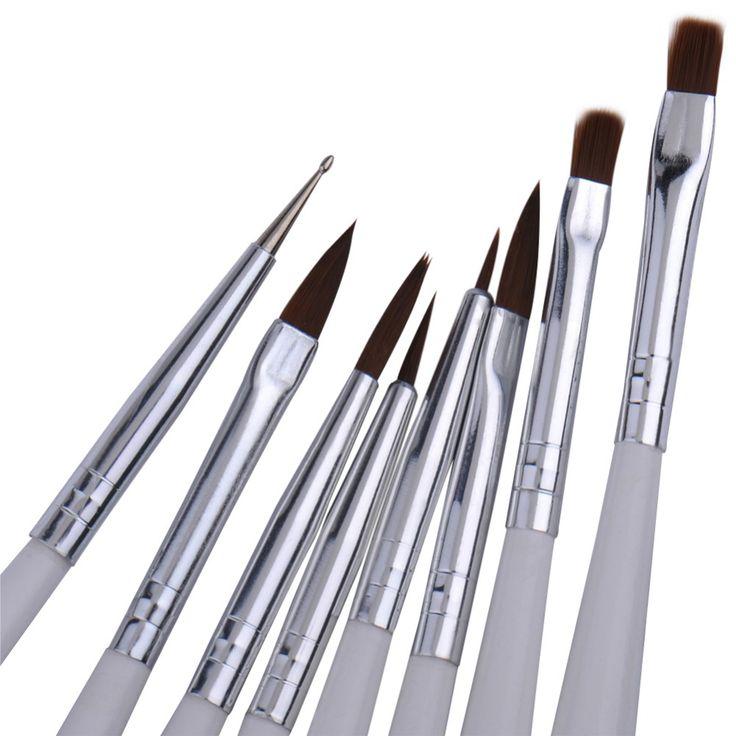 New Arrival 8pcs/set Zebra Brush Nail Art Design Set Dotting Painting Drawing Polish Brush Pen Tools Nail Brush Set
