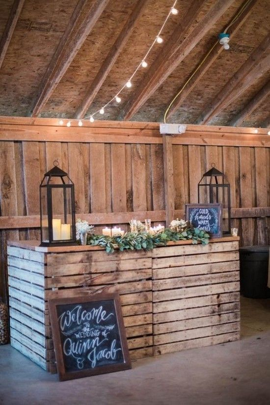 barn wedding reception bar idea / http://www.deerpearlflowers.com/rustic-barn-wedding-ideas/