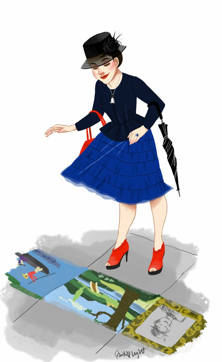 Mary Poppins Outfit Illustration