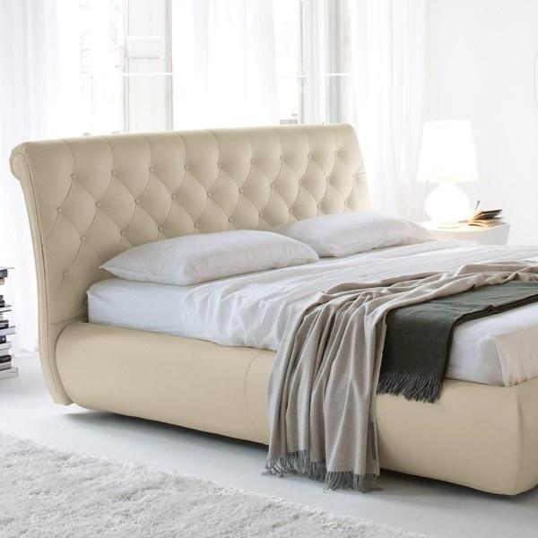 Cattelan italia muebles.  cama moderna con cabezal tapizado en capitone en piel…